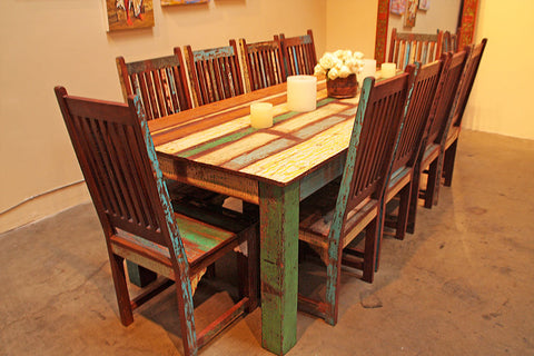 Reclaimed teak Dining Set with All Chairs