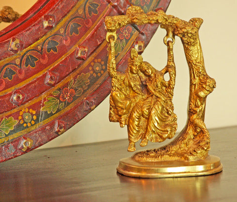 Brass Radha and Krishna on Swing