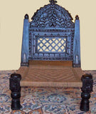 Carved Low Folding Indian Pidda Chair