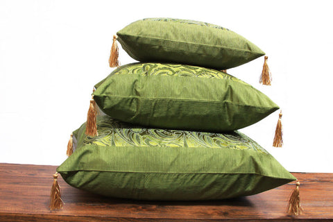 Green Chinese Art Silk Pillow with inside Trim