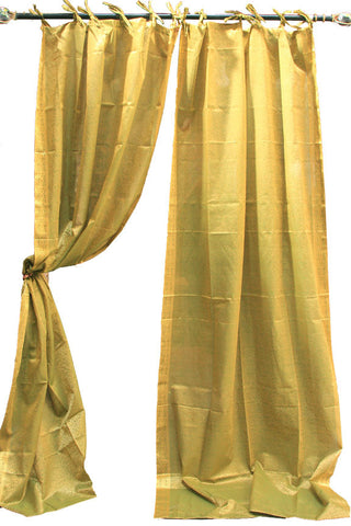 Indian Sari Fabric Olive Green Paisley Curtain