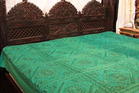 Indian Teal Green Mirrors Embroidered Bed Cover
