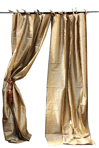 Indian Sari Fabric Champagne Kela Curtain