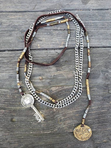 Brown Native Scarf Necklace