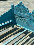 Turquoise Jula handcarved Daybed