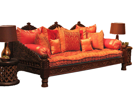 Merveilleux ... Indian Carved Lotus Sofa Daybed ...