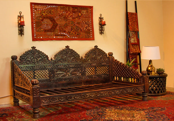 Indian Carved Jhula Sofa DayBed - Indoor or Outdoor at ...