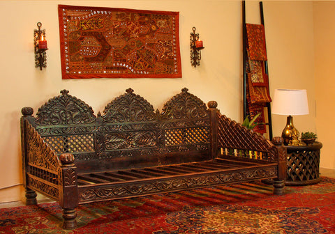 Indian Carved Jhula Sofa Daybed Indoor Or Outdoor At