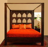 Handcarved Indian Multi Arch Style Bed