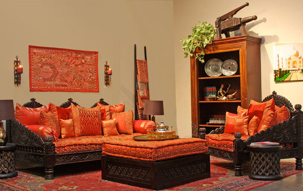 Indian carved jhula sofa daybed indoor or outdoor at for Living room jhula