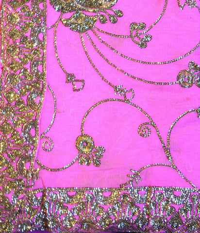Indian Sari Fabric Electric Pink
