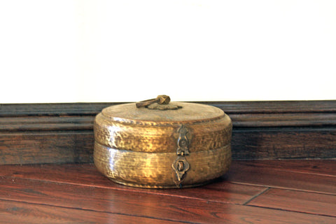 Hand Hammered Round Box with Lid