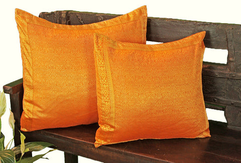 Orange Paisley Sari Pillow Cover