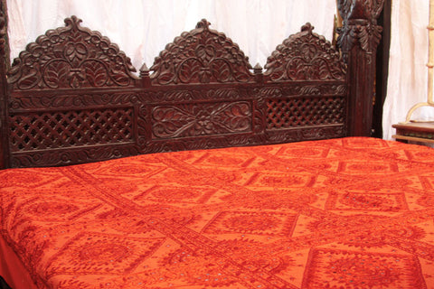 Indian Orange Mirrors Embroidered Bed Cover