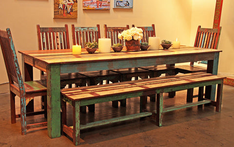 Reclaimed Wood Dining Set with Bench and Chairs