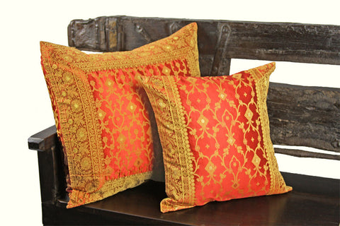 Indian pillows Cover Red Kela Sari