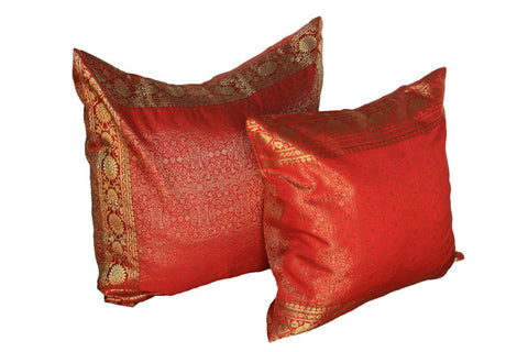 Indian sari pillows Cover Red Raj