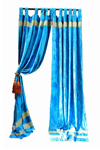 Indian Velvet Fabric Light Blue Curtain