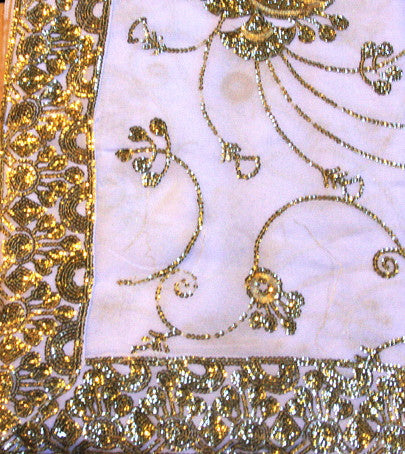 Indian Sari Fabric Electric White