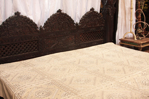 Indian White Mirrors Embroidered Bed Cover