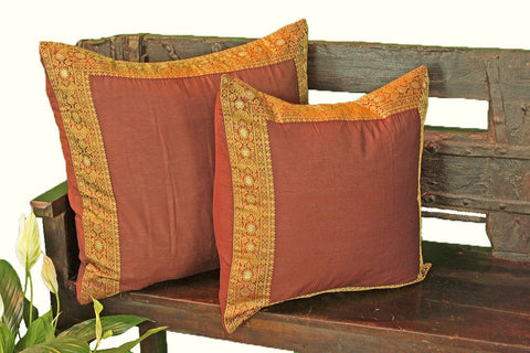 Burgundy Art Silk Pillow Cover