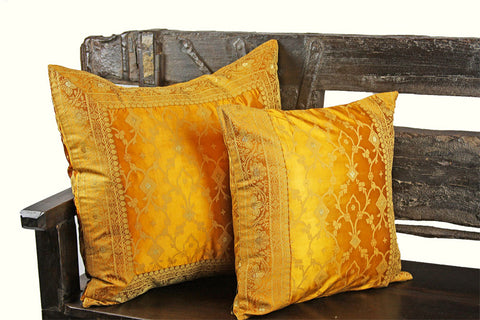 Indian pillows Cover Yellow Gold Kela Sari