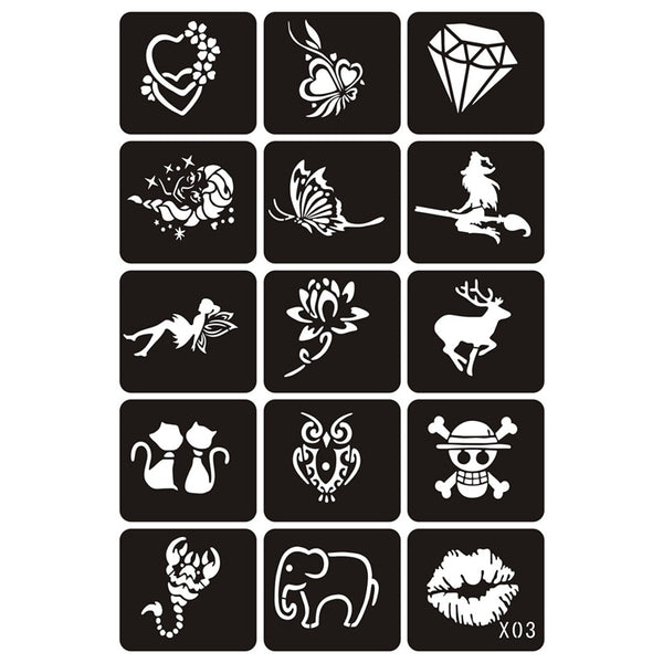 15pcs Small Glitter Tattoo Stencils Woman Girl Kids Drawing