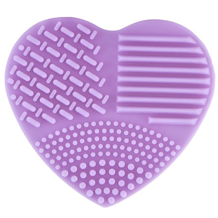 1Pcs Heart Silicone Cleaning Washing Mat Glove Scrubber Board Makeup Brushes