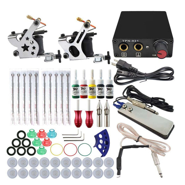 Complete Tattoo Machine Kit Set 2 Coils Guns 5 Colors