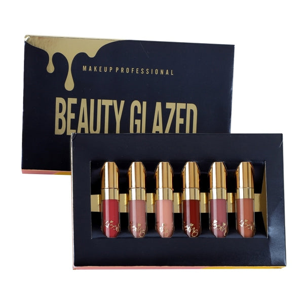 BEAUTY GLAZED 6pcs/Set Liquid Lipstick Lip Gloss