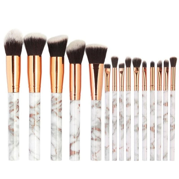 Pro 15pcs/Set Makeup Brushes Set Marble Handle Eye Shadow Foundation Powder Make Up Brushes