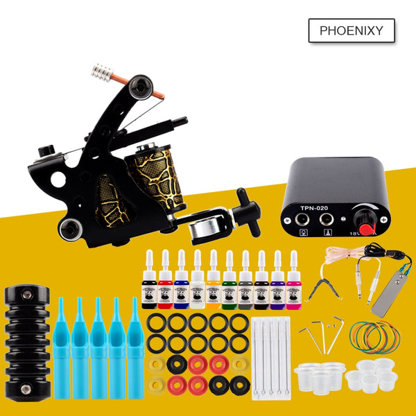 Starter Tattoo Machine Kit Set 1 Coils Guns 20 Colors