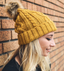 Mustard Faux Fur Cable Knit Beanie