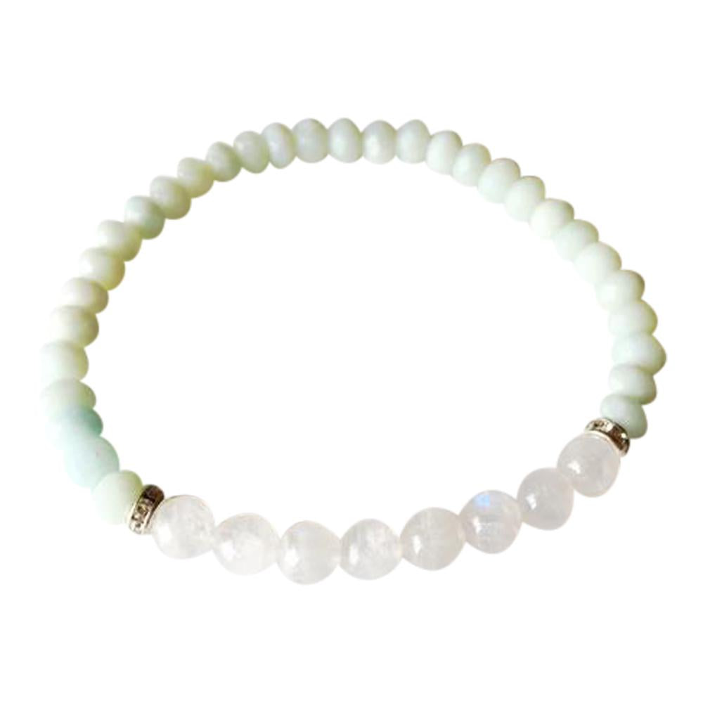 Round Moonstone & Faceted Amazonite Sterling Silver Bracelet