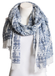 Beautiful Navy Blue & White Lightweight Elephant Boho Scarf - A Peace of Mind Jewelry & Boutique
