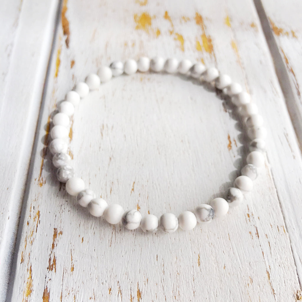 4mm White Howlite Bracelet ~ Calm & Relief - A Peace of Mind Jewelry & Boutique