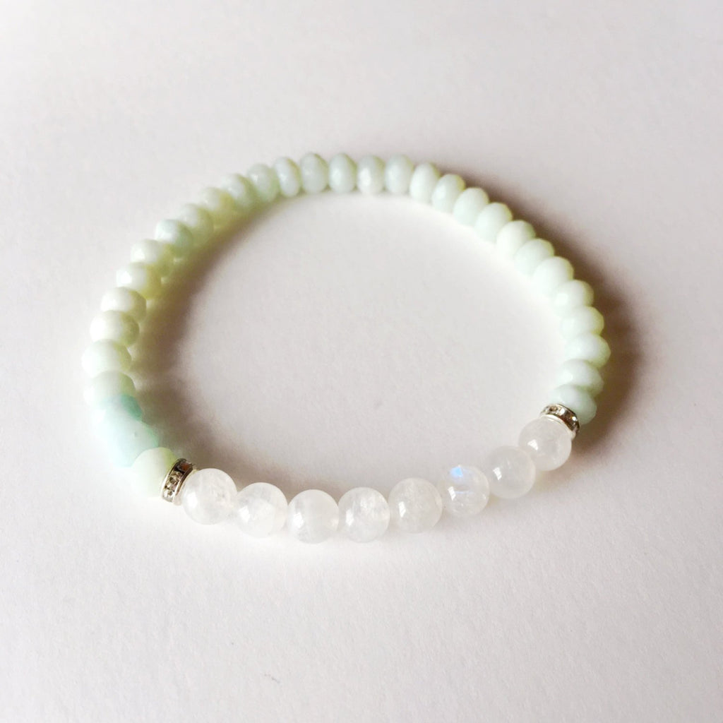 Creativity and Intuition ~ Genuine Round Moonstone & Faceted Amazonite Bracelet w/ Swarovski Crystal Spacers - A Peace of Mind Jewelry & Boutique