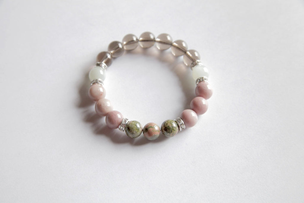 Fertility - Beautiful Genuine Unakite, Smokey Quartz, Rhodonite & Moonstone Bracelet w/ Sterling Silver Accents - A Peace of Mind Jewelry & Boutique