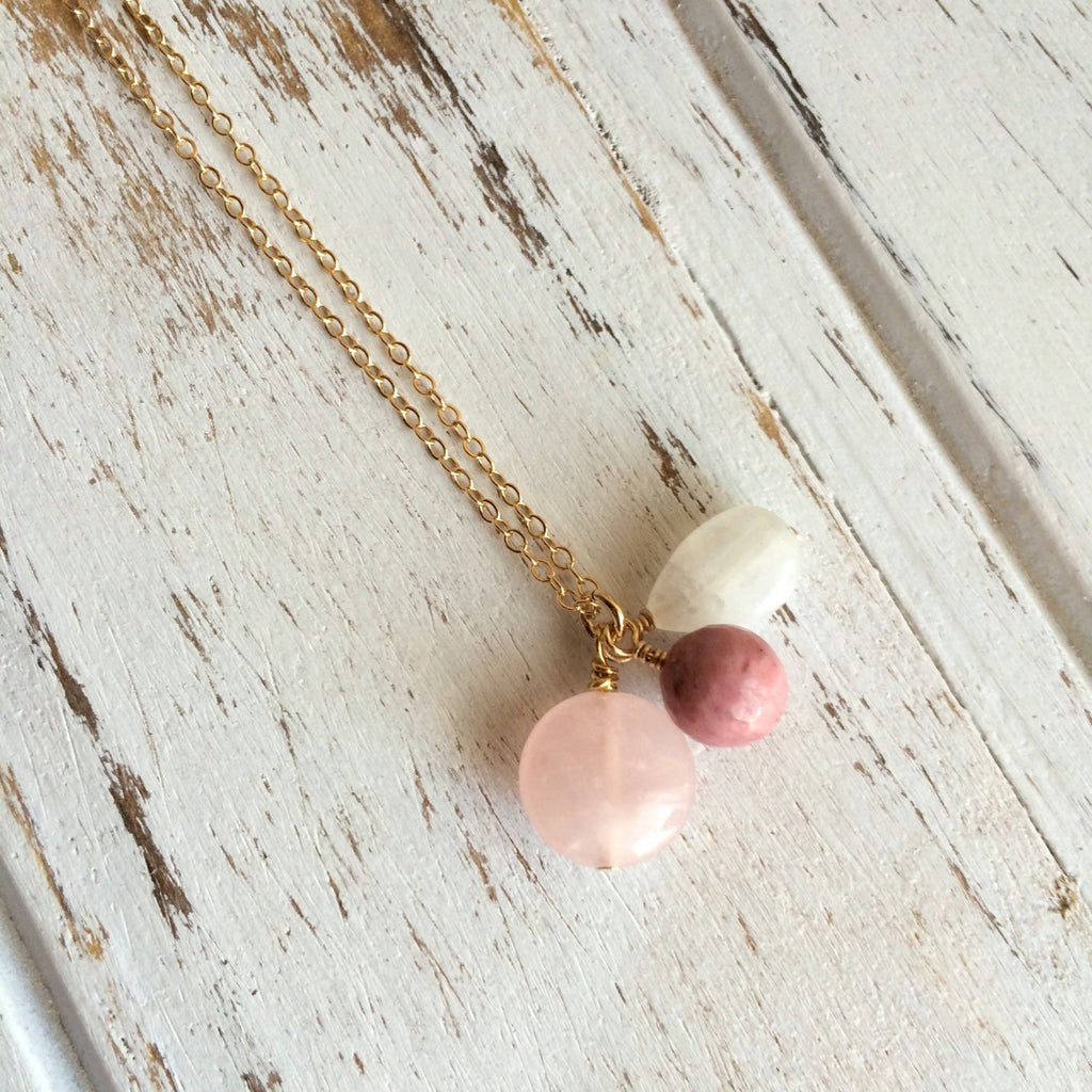 Love & Fertility ~ Moonstone, Rhodonite and Rose Quartz Gold Filled Necklace - A Peace of Mind Jewelry & Boutique