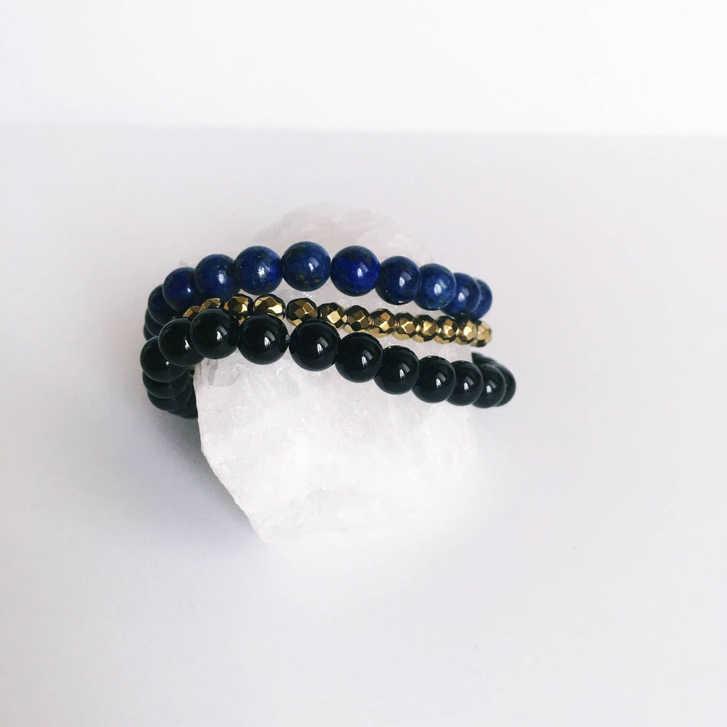 Perfect Balance - Black Onyx, Lapis Lazuli & Gold Hematite Bracelet Set - A Peace of Mind Jewelry & Boutique