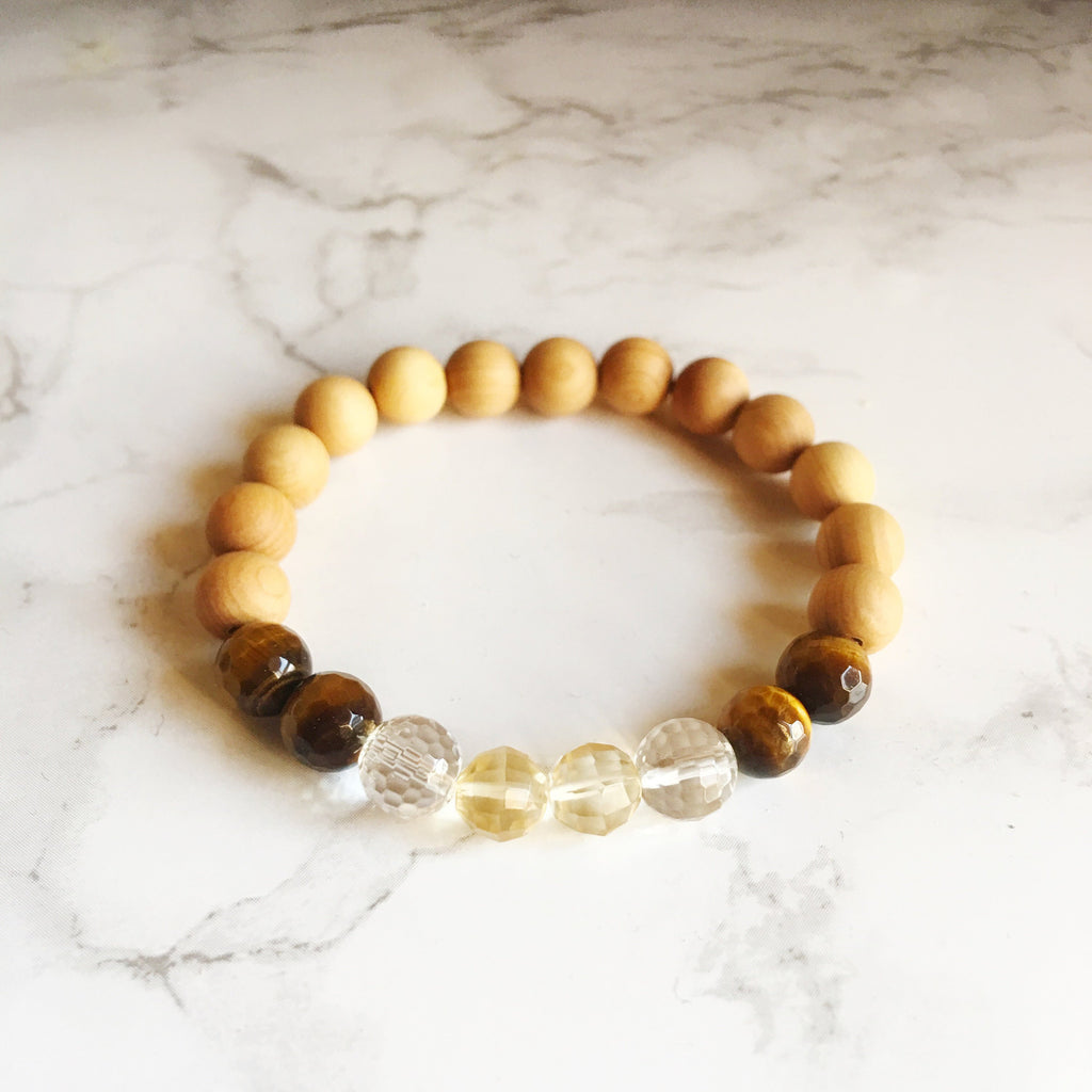 Citrine, Crystal Quartz, Tiger Eye & Sandalwood