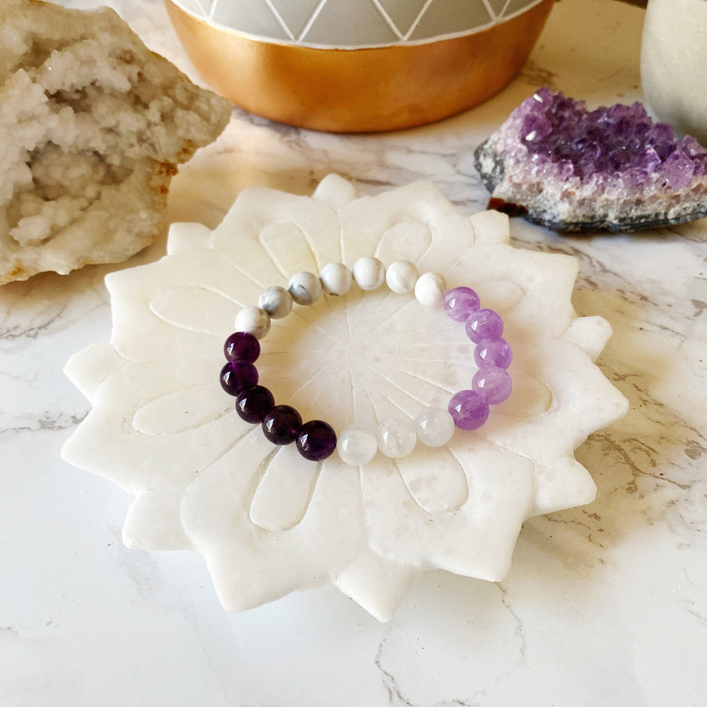 Protection from Outside Forces, Amethyst, Cape Amethyst, Moonstone, White Howlite, Healing Jewelry, Gemstone Bracelet, HReiki-Charge
