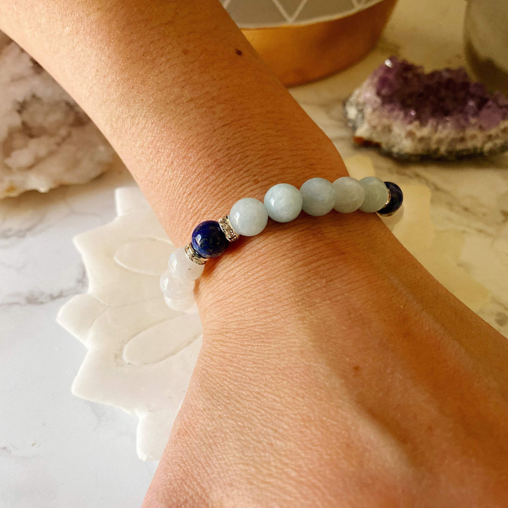 I am Free of Stress & Worry, Aquamarine, Lapis Lazuli, Moonstone, Healing Jewelry, Gemstone Bracelet, Healing Jewelry, Reiki-Charge