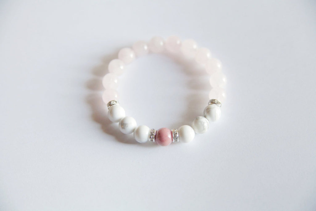 Help to Release Anger ~ Genuine Rhodonite, White Howlite & Rose Quartz Bracelet w/ Swarovski Crystal Accents - A Peace of Mind Jewelry & Boutique
