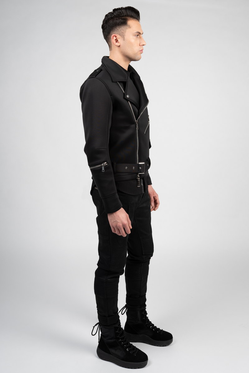 NEOPRENE BIKER JACKET
