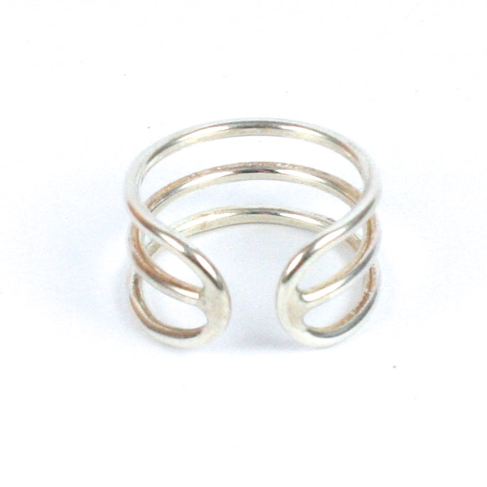 Solid Silver 925 Handmade 1.5mm Adjustable 3 Band Ring