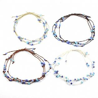 Handmade 3 String Adjustable Blue Bead Surf Anklet