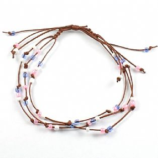 Handmade 3 String Adjustable Pink and Blue Bead Surf Anklet
