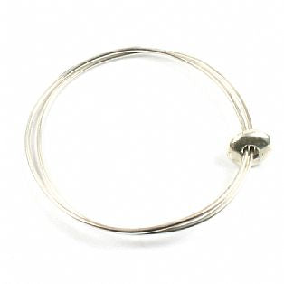Solid Silver 925 Handmade Mothers Nugget Bangle with up to 4 Personalised Rings