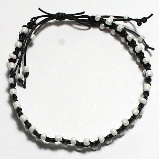 Handmade Cotton Macrame and Pearl White Seed Bead Adjustable Anklet